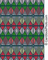 Style Seamless Knitted Pattern.Red Green White Color Illustration from my large Collection of Samples of knitted Fabrics