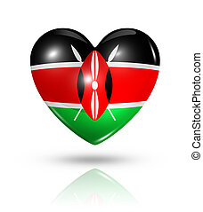 Love Kenya, heart flag icon - Love Kenya symbol. 3D heart...