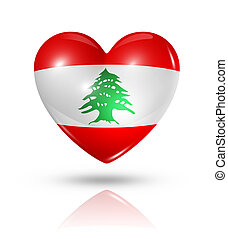 Love Lebanon, heart flag icon - Love Lebanon symbol. 3D...