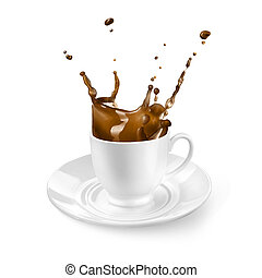 Splash of coffee in the cup isolated on white