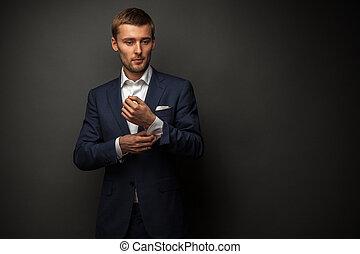 bonito, homem negócios, pretas