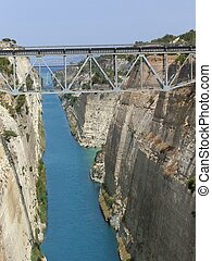 Corinth Canal - a view of the Canal of Corinth in Greece