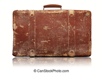 vieux, vendange, isolé, fond, valise, blanc