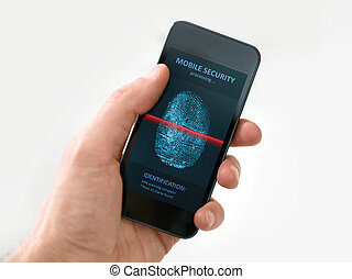 Hand holding smartphone with mobile security application -...