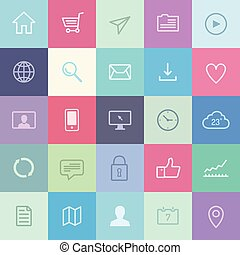 Flat application icons set - Flat design vector icons of...
