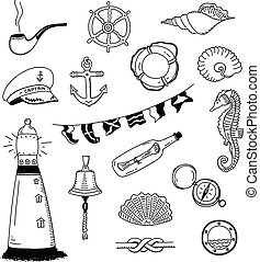 Sea vector doodle collection - Hand drawn vector...