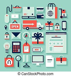 E-commerce and shopping icons - Flat design vector...