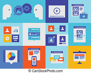 Web presentation and interface icons - Flat design vector...