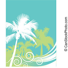 Palm tree wave background