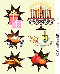 hanukkah holiday icons - six holiday icons with symbols of...