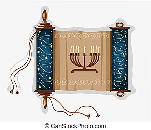 hanukkah scroll on the white background