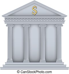 RomanGreek Temple bank symbol - RomanGreek Temple with ionic...