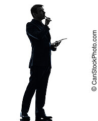business man thinking pensive digital tablet silhouette -...