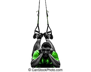 man exercising suspension training trx tired pouting silhouette