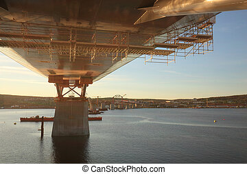Bridge support in sunset Public project tax financed:...