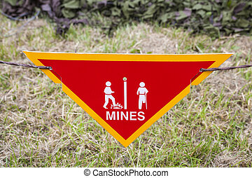 Land Mine Warning Sign - Land mine or minefield danger...