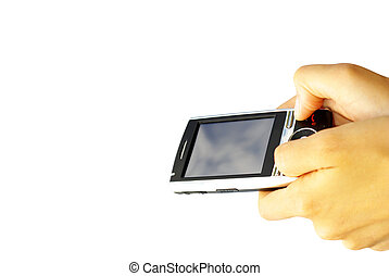 communicator - hands with communicator isolated over white...