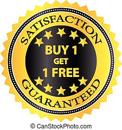 Buy One Get One Free Retail Shopping Badge Vector...