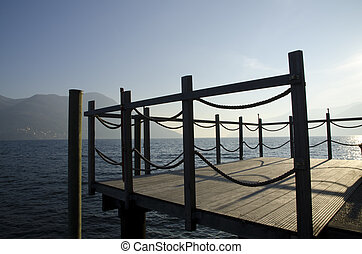 Pier on a lake with mountain - Pier on a misty alpine lake...