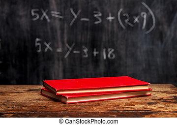 Libros, pizarra, ecuación
