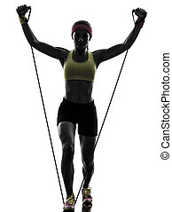 woman exercising fitness workout resistance bands silhouette...
