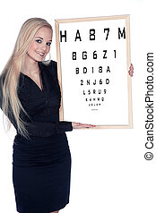 woman with eye test
