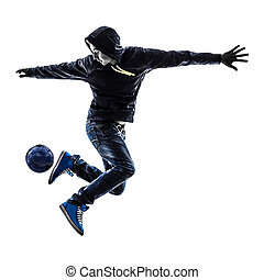 young man soccer freestyler player silhouette - one...