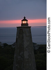 Lighthouse at dusk. - Old Baldy lighthouse at dusk on Bald...
