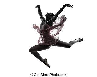 mujer, bailarina, ballet, bailarín, bailando, silueta