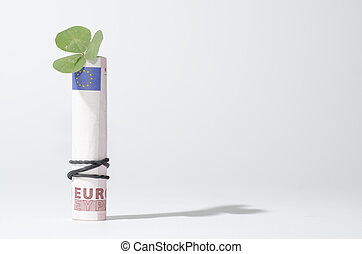The bill of ten euro with three leaf clover - The bill of...