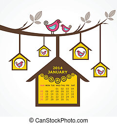 Calendar of January 2014 with birds sit on branch stock...