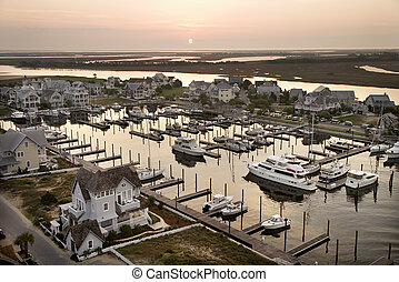 Boats at marina - Aerial view of boats at marina on Bald...