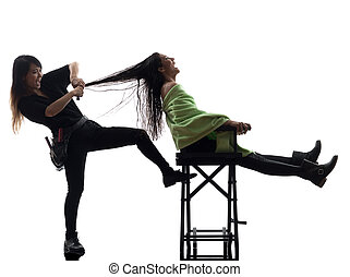 woman and hairdresser silhouette
