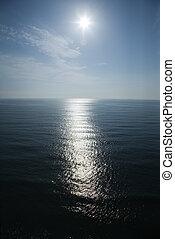 Sun reflecting in ocean.