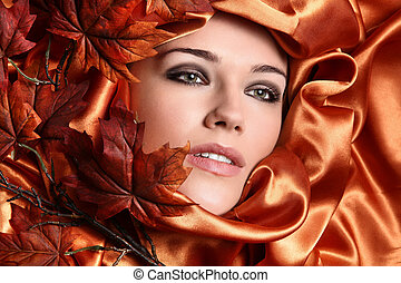 beautiful woman in autumn