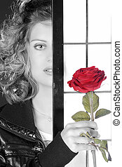 pretty blonde woman with rose