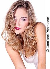 smiling pretty blonde woman