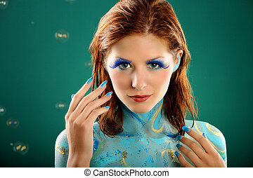 aquamarine beauty with body painting - aquamarine beauty...