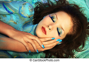aquamarine beauty with body painting