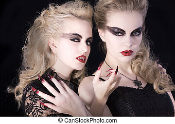 two vampire women with make up - two vampire women make up...