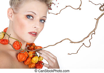 Beauty woman in autumn