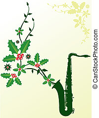 Christmas sax - A dark green sax with Christmas holly coming...