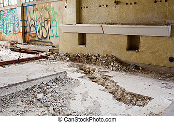 Abandoned building - View of interior of an abandoned...
