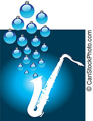 sax with Christmas baubles - A white sax with Christmas...