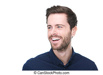 Handsome young man smiling on isolated white background