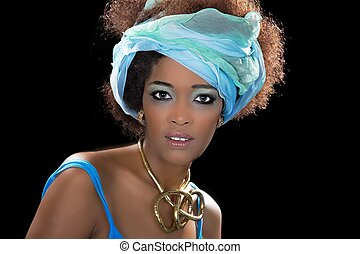 Beauty african woman looks pretty