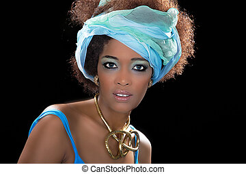 Beauty african woman looks pretty blue eyes