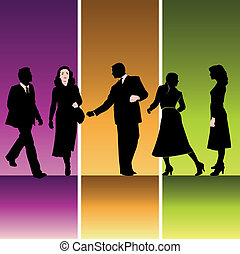Five silhouettes of businesspeople