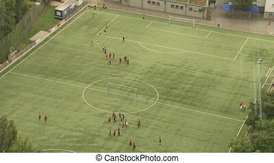 Soccer Training Top View - video footage of a soccer...