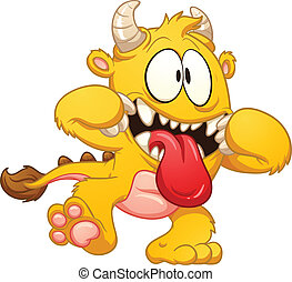 Yellow cartoon monster. Vector clip art illustration with...